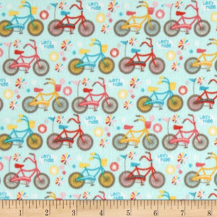 Riley Blake Girl Crazy Flannel Bikes Blue