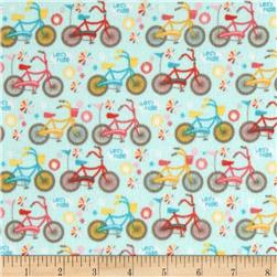 Riley Blake Girl Crazy Flannel Bikes Blue Fabric