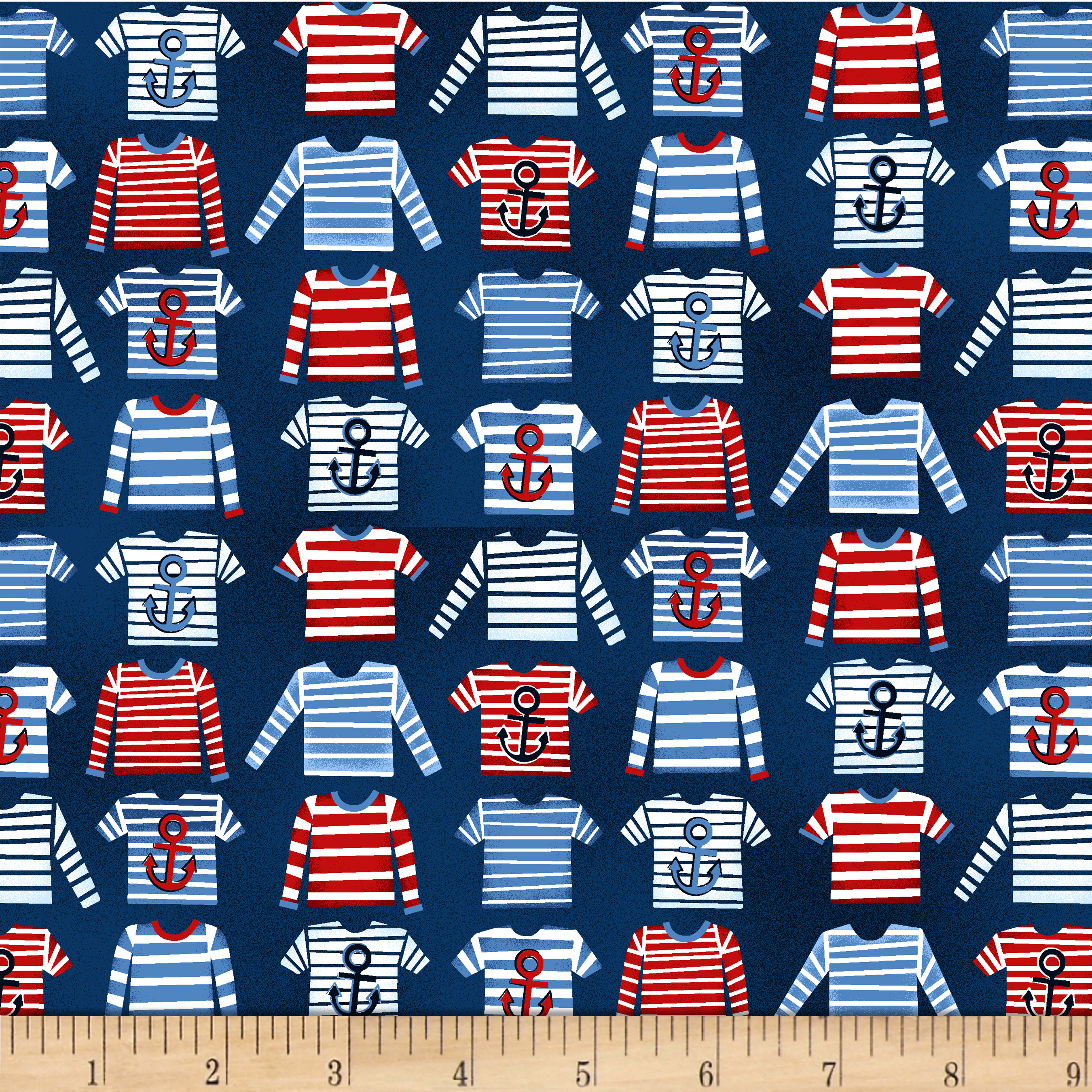 A Whale Of A Time Striped T-Shirts Navy Fabric