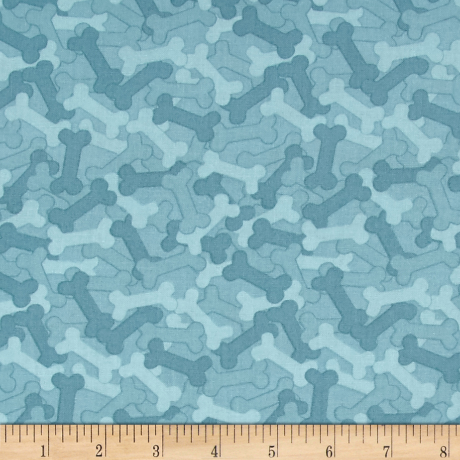 It's A Dog's Life Bones Blue Fabric