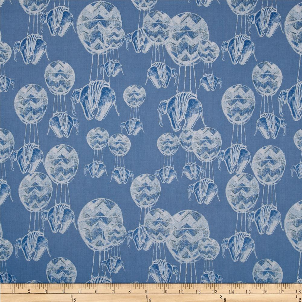 Tina Givens Riddles And Rhymes Elephant Flight Royal Discount Designer Fabric