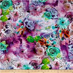 Rayon Digital Challis Flowers  Multi