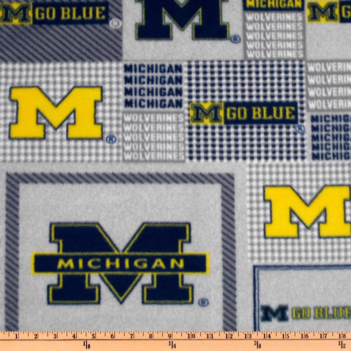 Collegiate Fleece University of Michigan Plaid Blocks Fabric