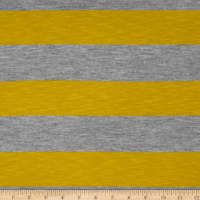 Jersey Knit Stripe Yellow/Grey
