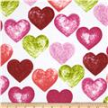 Daisy Love Flannel Large Hearts Garden