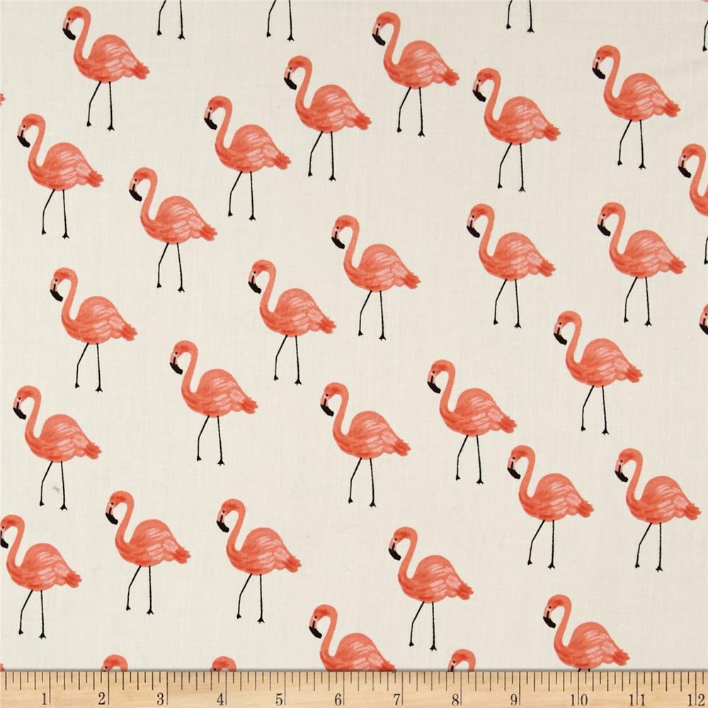 Cotton + Steel Rifle Paper Co. Les Fleurs Lawn Flamingoes Ivory Fabric By The Yard