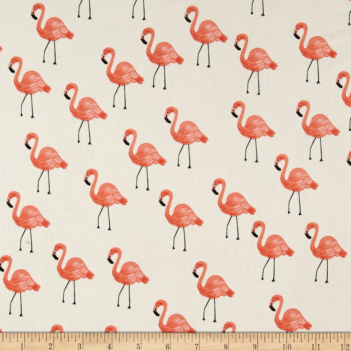 Cotton + Steel Rifle Paper Co. Les Fleurs Lawn Flamingoes Ivory Fabric by Cotton & Steel in USA