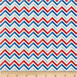 Riley Blake Star Spangled Stripes Chevron White