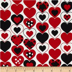 Kanvas Luv Bugs Heart Felt White/Red Fabric