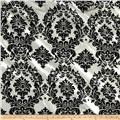 Flocked Damask Taffetta Ivory/Black