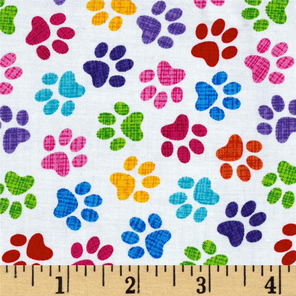 Timeless Treasures Cats & Dogs Paws White/Multi
