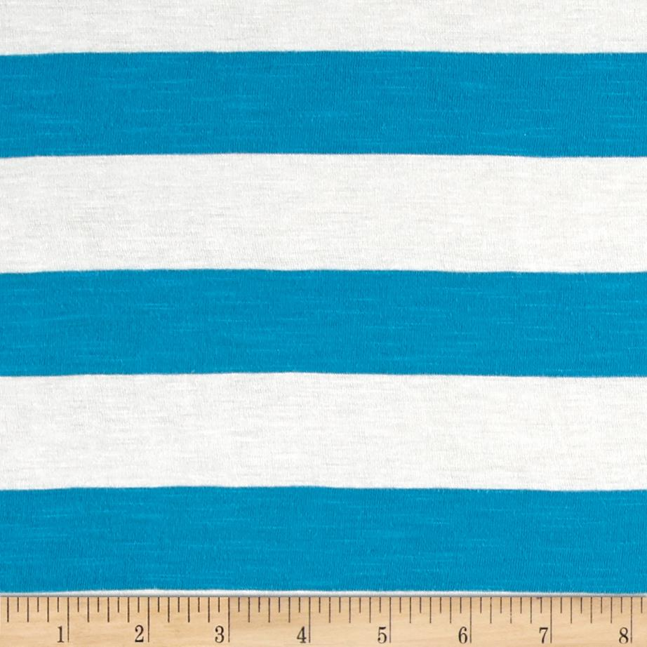Jersey Knit Medium Blue and White Stripes