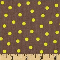 Bright Now Do the Polka Yellow Fabric