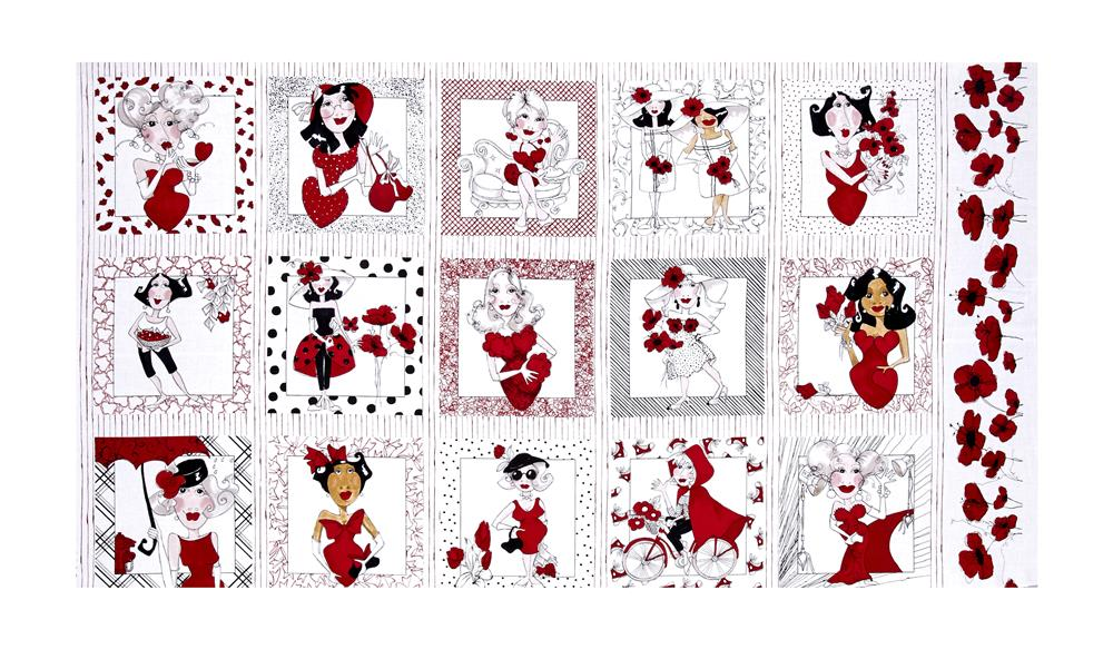 """Loralie Designs Lady In Red 24"""" Panel Red"""