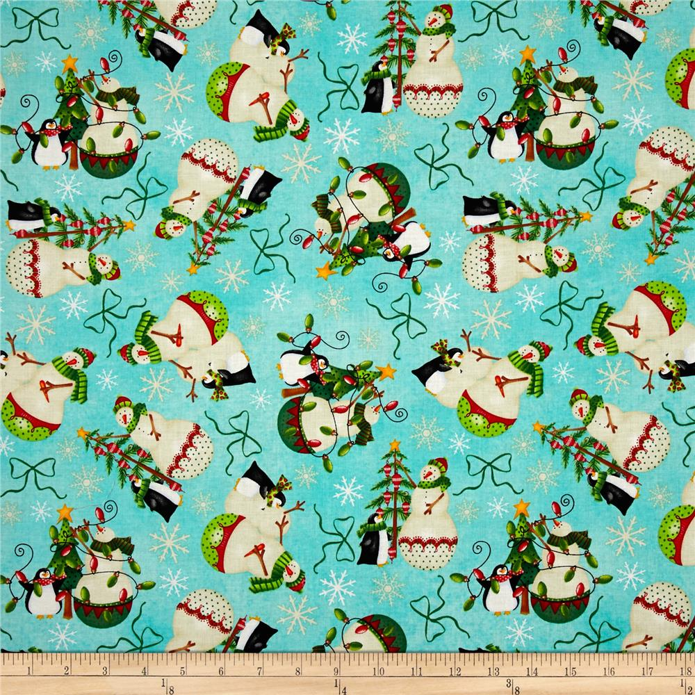 Holiday Dreams Snowmen Teal