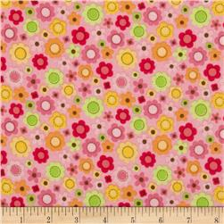 Riley Blake Ladybug Garden Flannel Tossed Flowers Pink