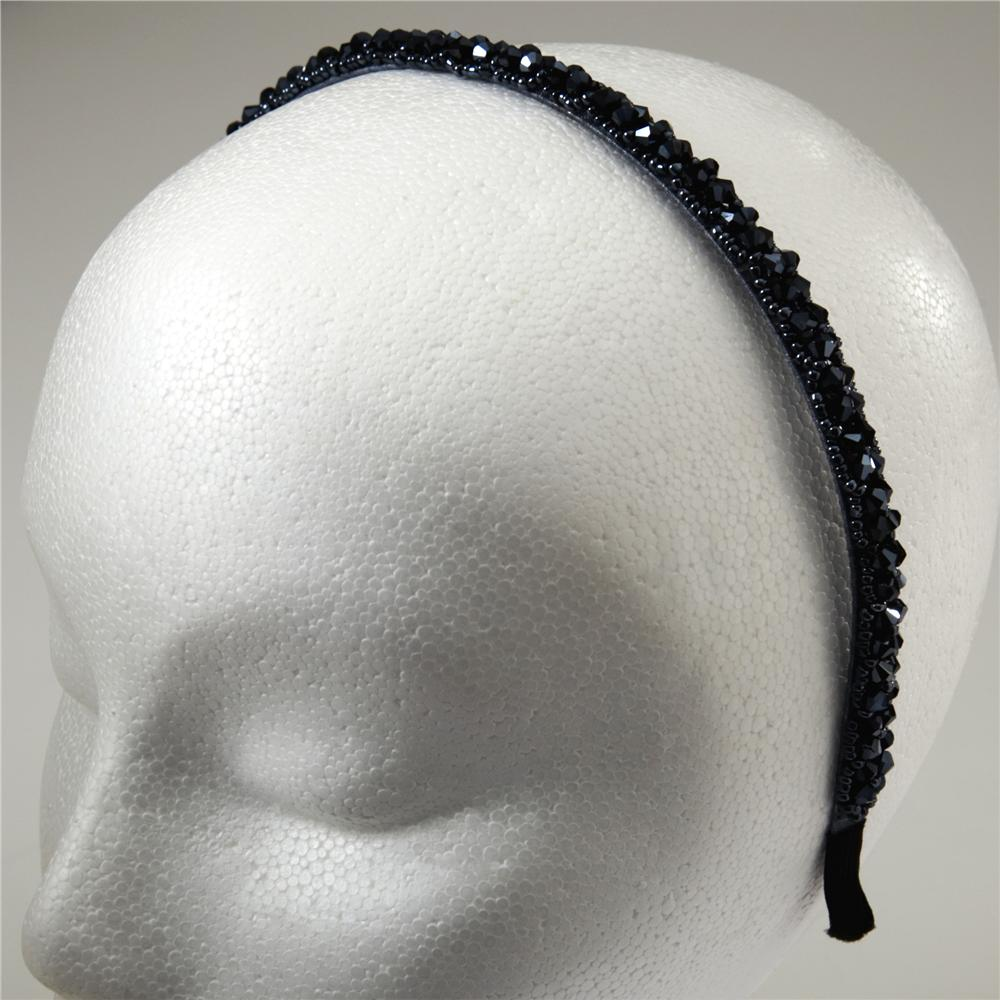 3/8'' Faceted Floral Beaded Headband Gunmetal