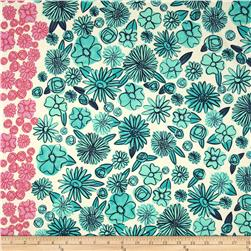 Cotton + Steel Lawn Hatbox Palm Springs Floral Teal