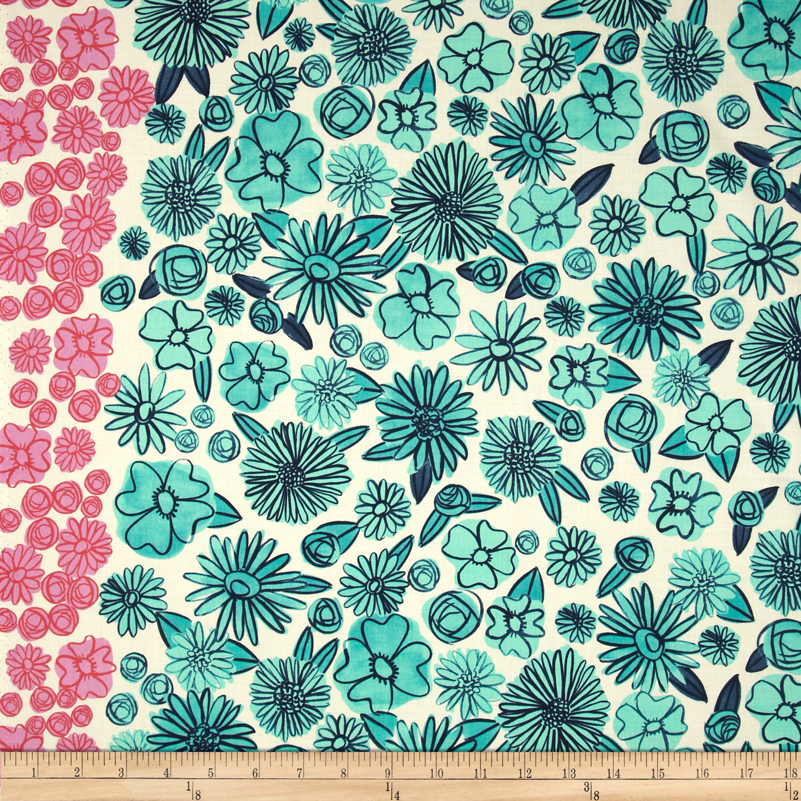 Cotton + Steel Lawn Hatbox Palm Springs Floral Teal Fabric by Cotton & Steel in USA