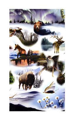 "Pristine Wilderness Digital Print 34"" Panel Forest Animals Forest"