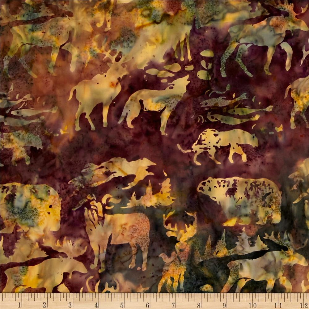 Island Batik Holiday Happenings Woodland Animals Grn/Tan/Plum