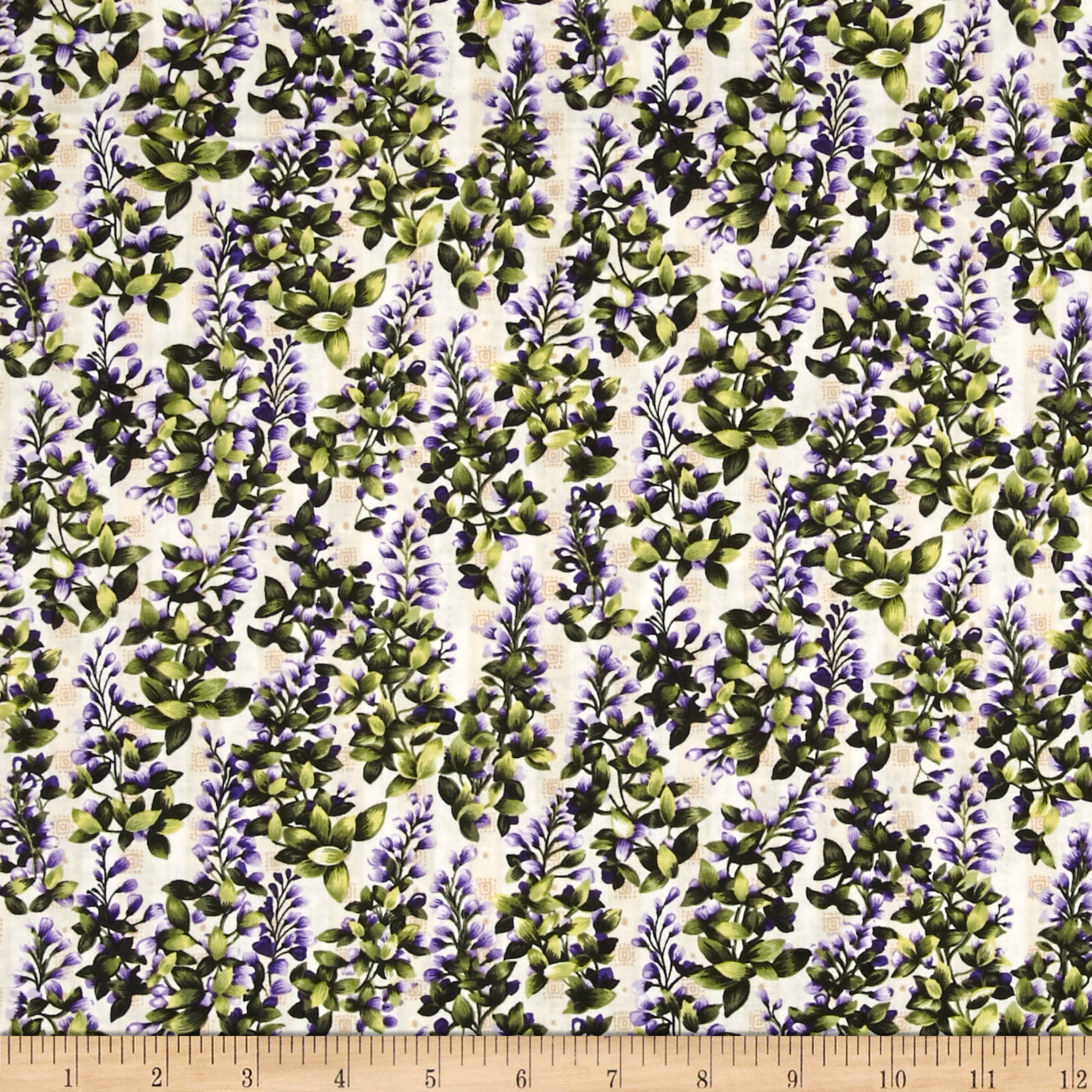 Image of Asian Garden Background Purple/Green Fabric