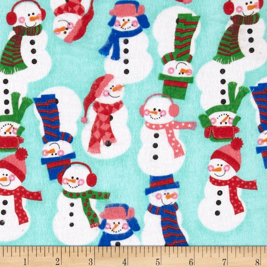 Flannel Tossed Large Snowmen Teal Fabric