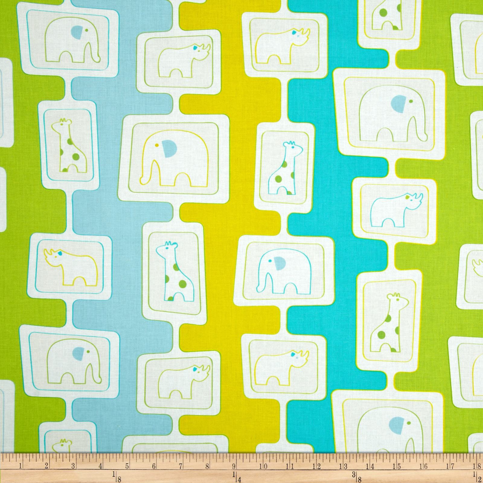 Savanna Bop Animal Stripes Yellow/Green/Light Blue Fabric