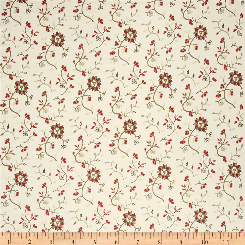 French General Embroidered Mina Floral Rural Red