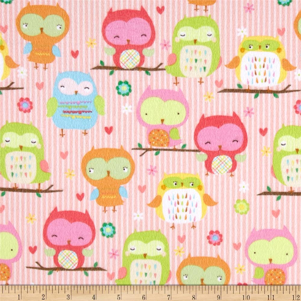 Riley Blake Owl & Co. Flannel Owl Main Pink - Discount ...