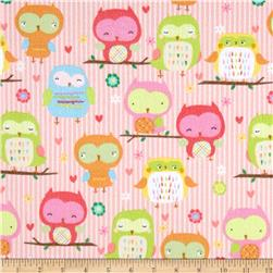 Riley Blake Owl & Co. Flannel Owl Main Pink
