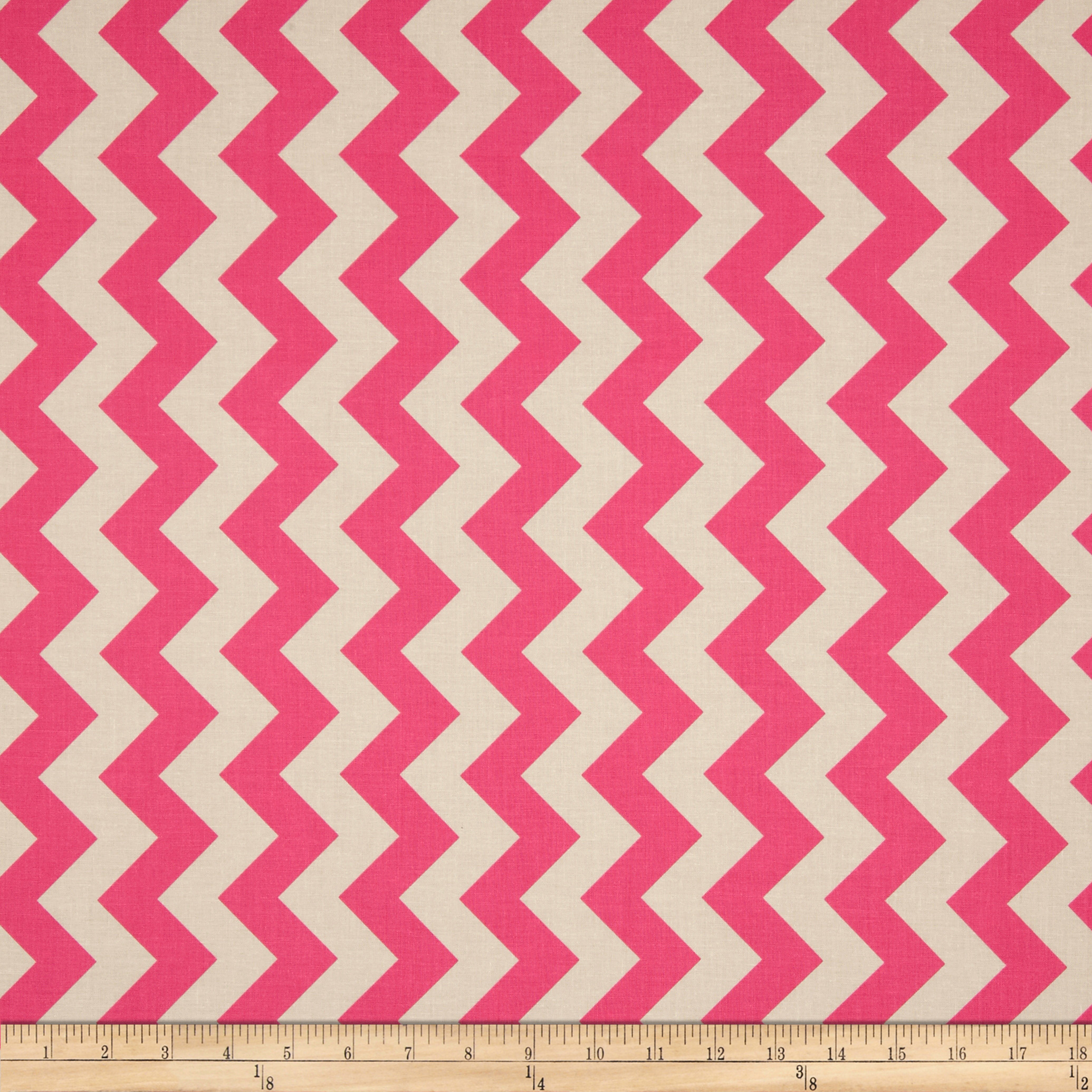 Riley Blake Le Creme Basics Chevron Hot Pink/Cream