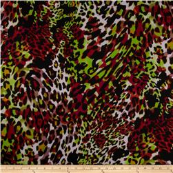 Stretch Soft Jersey Knit Leopard Lime/Black/Maroon/White Fabric