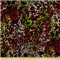 Stretch Soft Jersey Knit Leopard Lime/Black/Maroon/White