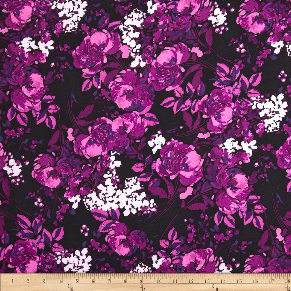 Rayon Challis Flower Bunches Black/Magenta