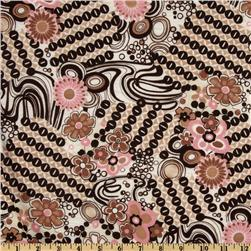 Stretch Jersey Knit  Floral Swirl Pink/Brown