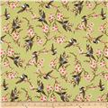 Double Happiness Birds & Floral Vines Green