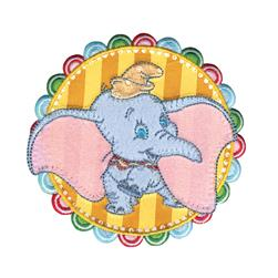 Disney Dumbo Iron On Applique Dumbo In Striped Circle