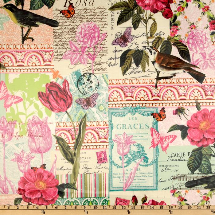 Michael Miller French Journal Laminated Cotton Belle Rose Pink