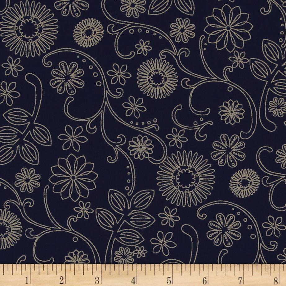 "110"" Wide Quilt Back Signature Navy/Tan"