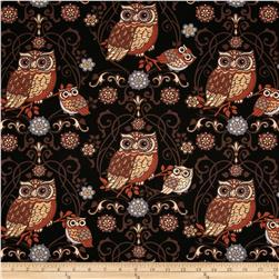 Night Owls Large Owls Black Fabric