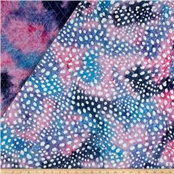 Double Face Quilted Indian Batik Small Dots Blue/Pink