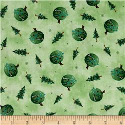 Snow Much Fun Tree Toss Green Fabric
