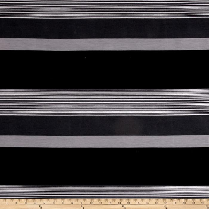 Jersey Knit Multi Stripe Charcoal