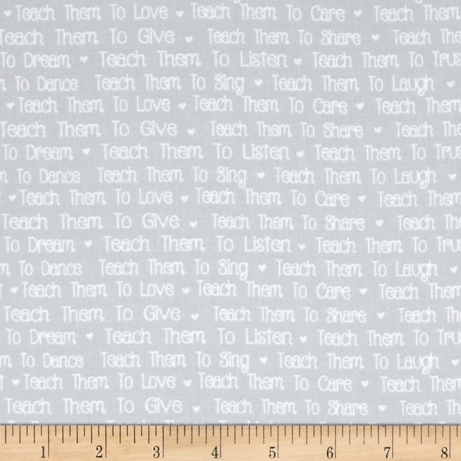 First Words Words Gray Fabric by RJR in USA