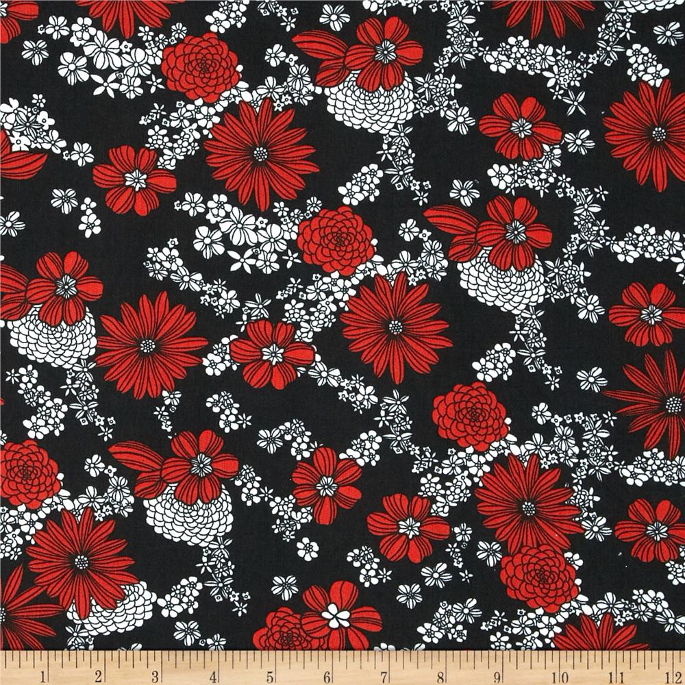 Poly Challis Floral Red/White/Black - Discount Designer ...