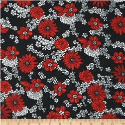 Poly Challis Floral Red/White/Black