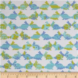 Michael Miller Cynthia Rowley Oh Baby Flannel Rabbit Repeat Aqua