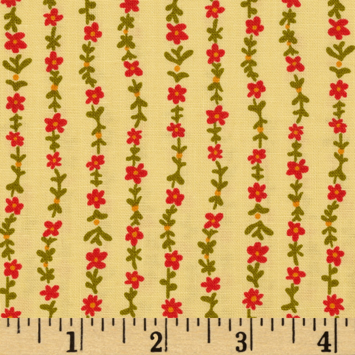 Ditsy Floral Stripe Yellow Fabric