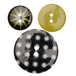 Fashion Buttons 3/4'', 7/8'', 1 3/8'' Coordinates Star Burst Black/White/Lime
